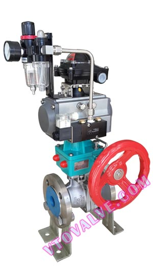 Pneumatic Ball Valves with Manual Override, Air-Operated Ball Valves, D6S41F-16P