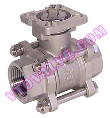 3PC Direct Mounting Female Threaded Ball Valves