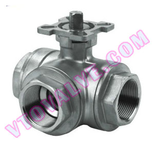 3-way Threaded Ball Valves with Direct Mounting