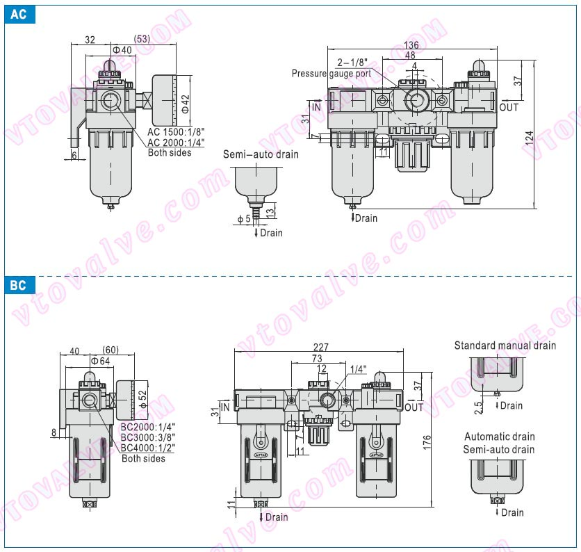 Dimensions of AC1500,AC2000,BC2000,BC3000,BC4000 F.R.L combination