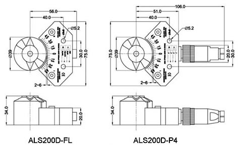 Drawing and Dimension of ALS200D Limit Switch Box, ALS200D Series Valve Monitor