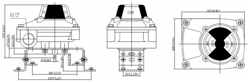Drawing and Dimension of ALS200PA23 series limit switch box, ALS200PA23 series valve monitor