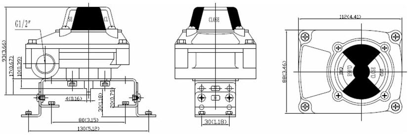Drawing and Dimension of ALS200PP22 Limit Switch Box, ALS200PP22 Series Valve Monitor