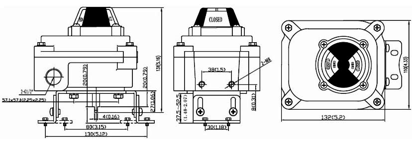 Drawing Dimension of ALS300M2 Series Limit Switch Box