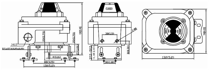 Drawing Dimension of ALS300M3 Series Limit Switch Box