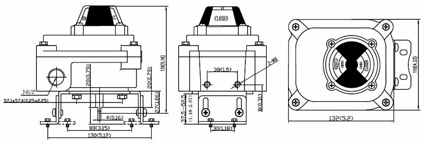 Drawing Dimension of ALS300M4 Series Limit Switch Box