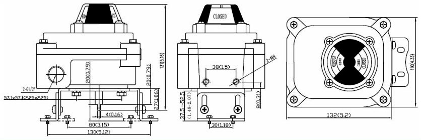 Drawing Dimension of ALS300PA23 Series Limit Switch Box