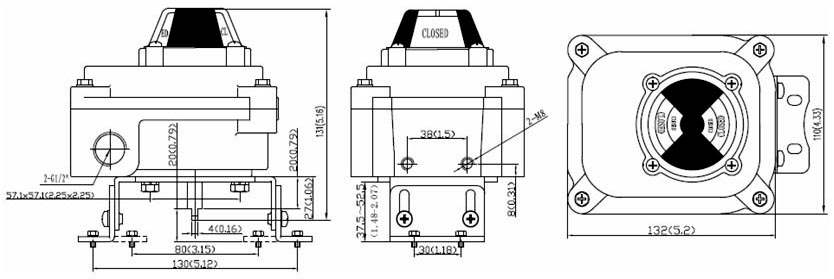 Drawing Dimension of ALS300QA23 Series Limit Switch Box