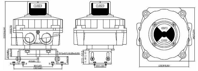 Drawing Dimension of ALS400AS2 Series Limit Switch Box
