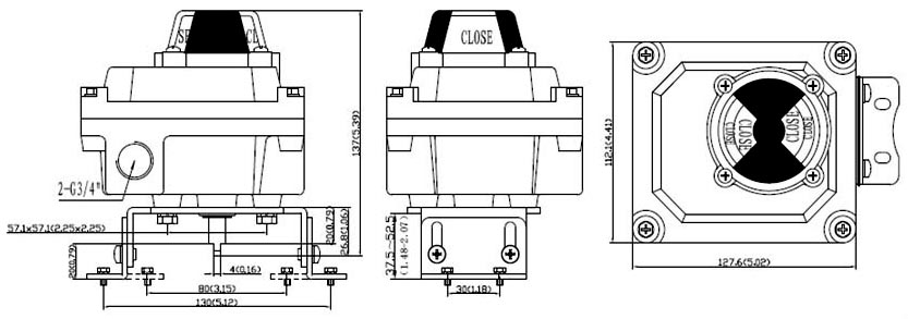 Drawing and Dimension of ALS600M2 Limit Switch Box, ALS600M2 Series Valve Monitor