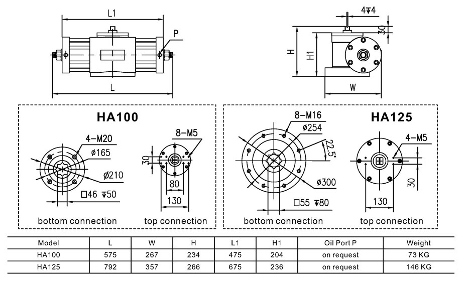 Main Dimensions and Weight of HA100, HA125