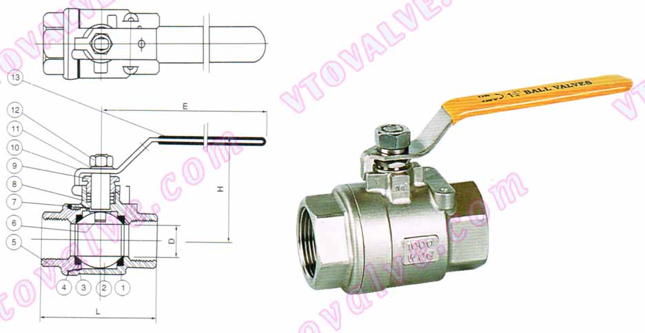 Drawing for 2PC Female Threaded Ball Valves