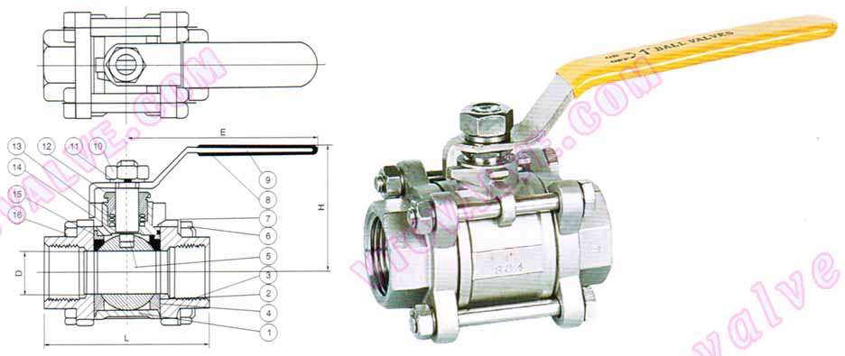 Drawing for 3PC Female Threaded Ball Valves
