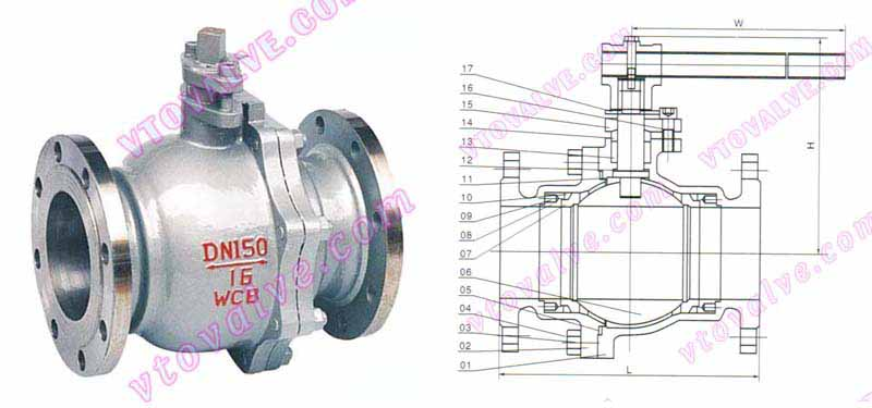 Drawing for 2PC Soft Seal Float Ball Valves of GB Standard